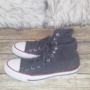 Converse Knitted Gray High Top Sneakers Size 8.5